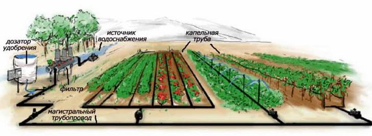 схема водопровода на огороде