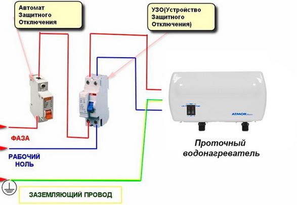 Схема включения проточника