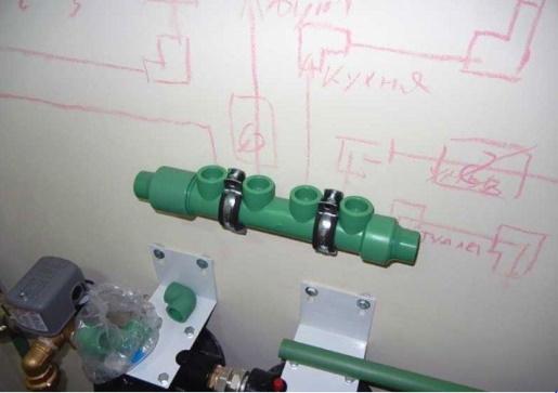 разметка трубопровода на стене