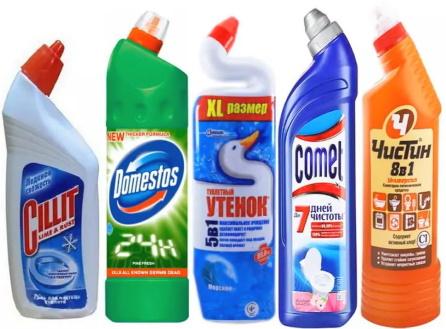 Средства для чистки унитаза и раковины