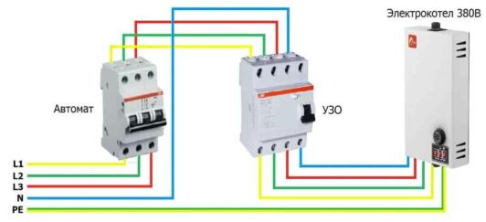 Как подключить к сети 380 В электрокотел