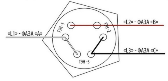 Схема влкючения тенов треугольником