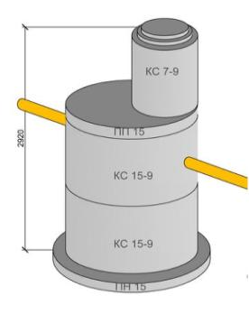 схема септика из железобетонных колец