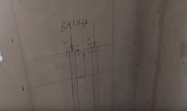 Разметка штроб на стене