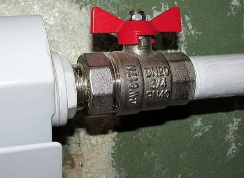 Шаровый кран установленный в системе отопления